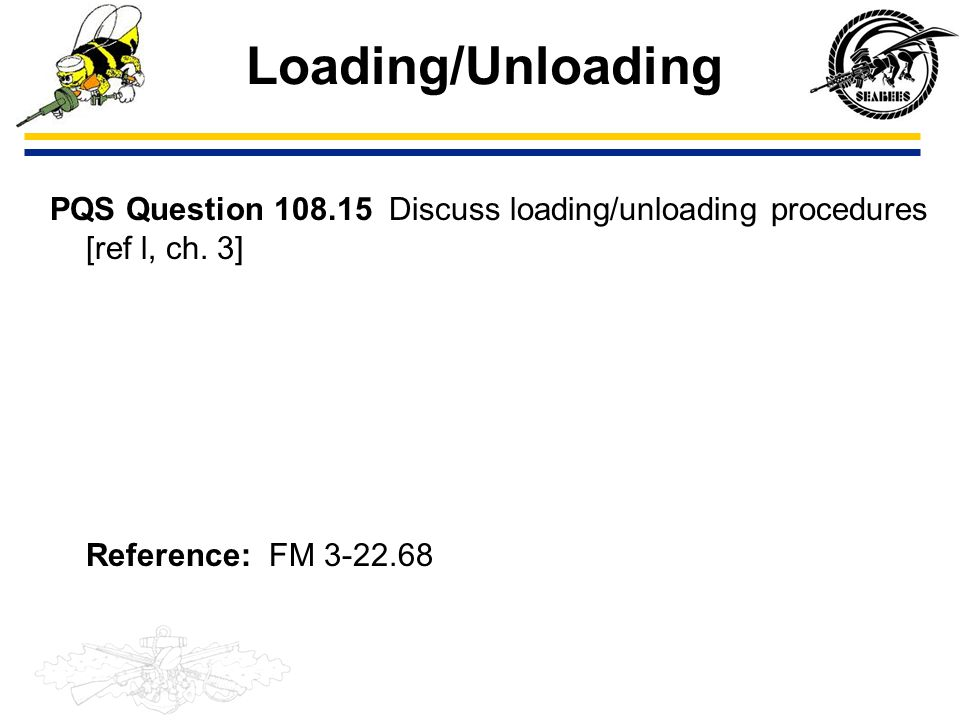 Loading/Unloading PQS Question 108.15 Discuss loading/unloading procedures [ref l, ch.